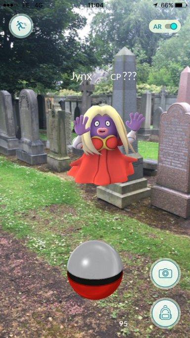 Pokémon at a cemetery