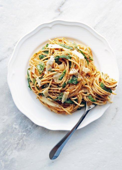 Fall veggie recipes: Pumpkin makes a creamy sauce for this spaghetti