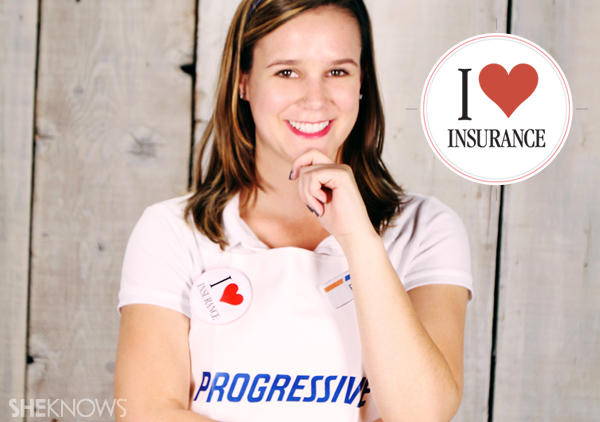 Create the I heart insurance button for your Flo the Progressive lady costume