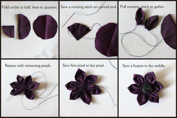 Flower button steps collage