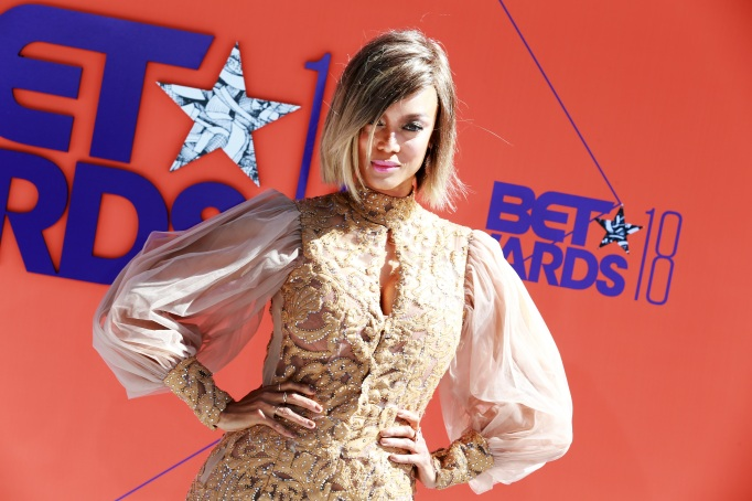 Tyra Banks walks the red carpet at the 2018 BET Awards