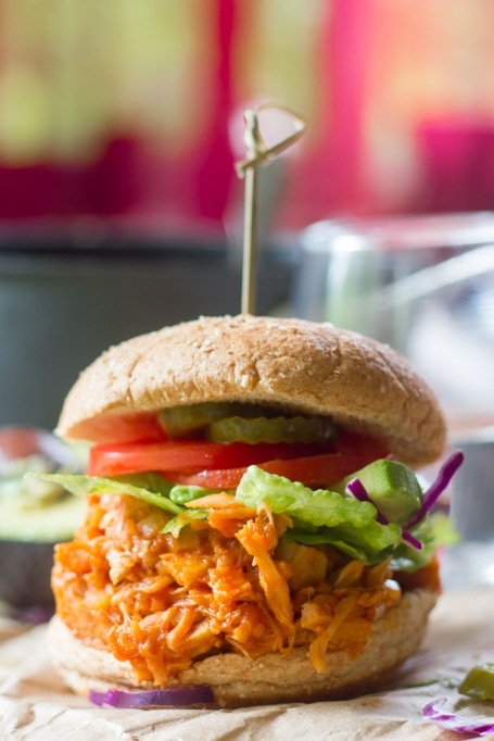 Vegetarian 4th of July: Maple Buffalo pulled jackfruit makes for a mean vegetarian sandwich.