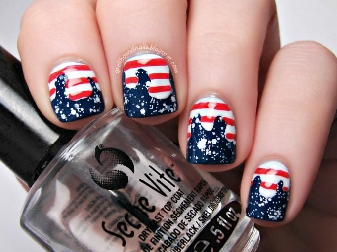 American flag nail design