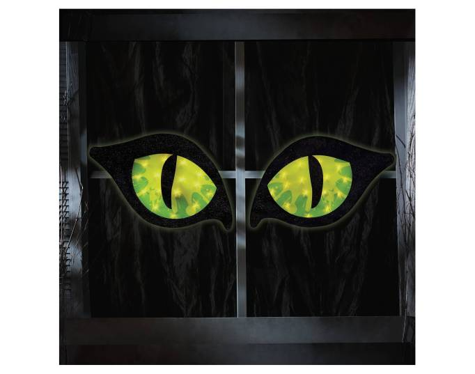 The 15 Best Target Halloween Decorations Under $20 | Hang these big green cat eyes in your window