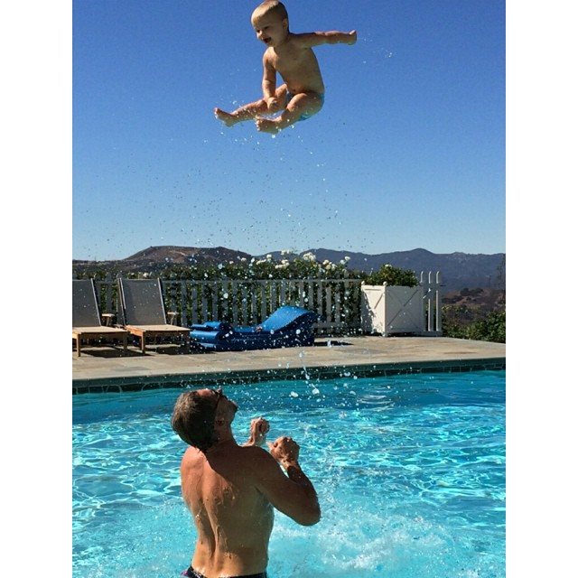 Jessica Simpson's family photos are totally beautiful: Eric Johnson tosses Ace Knute in the pool