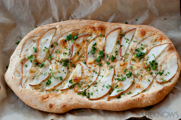 Caramelized onion foccacia with pears and gorgonzola