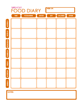Food diary printable page - click me!