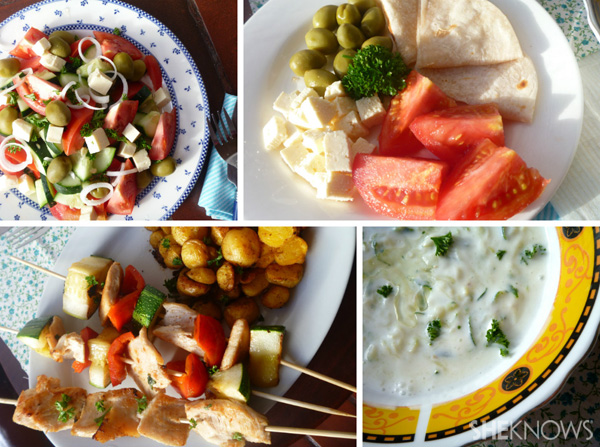 Greek dishes collage