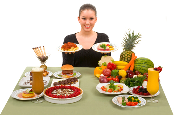 Woman making healthy food choices.