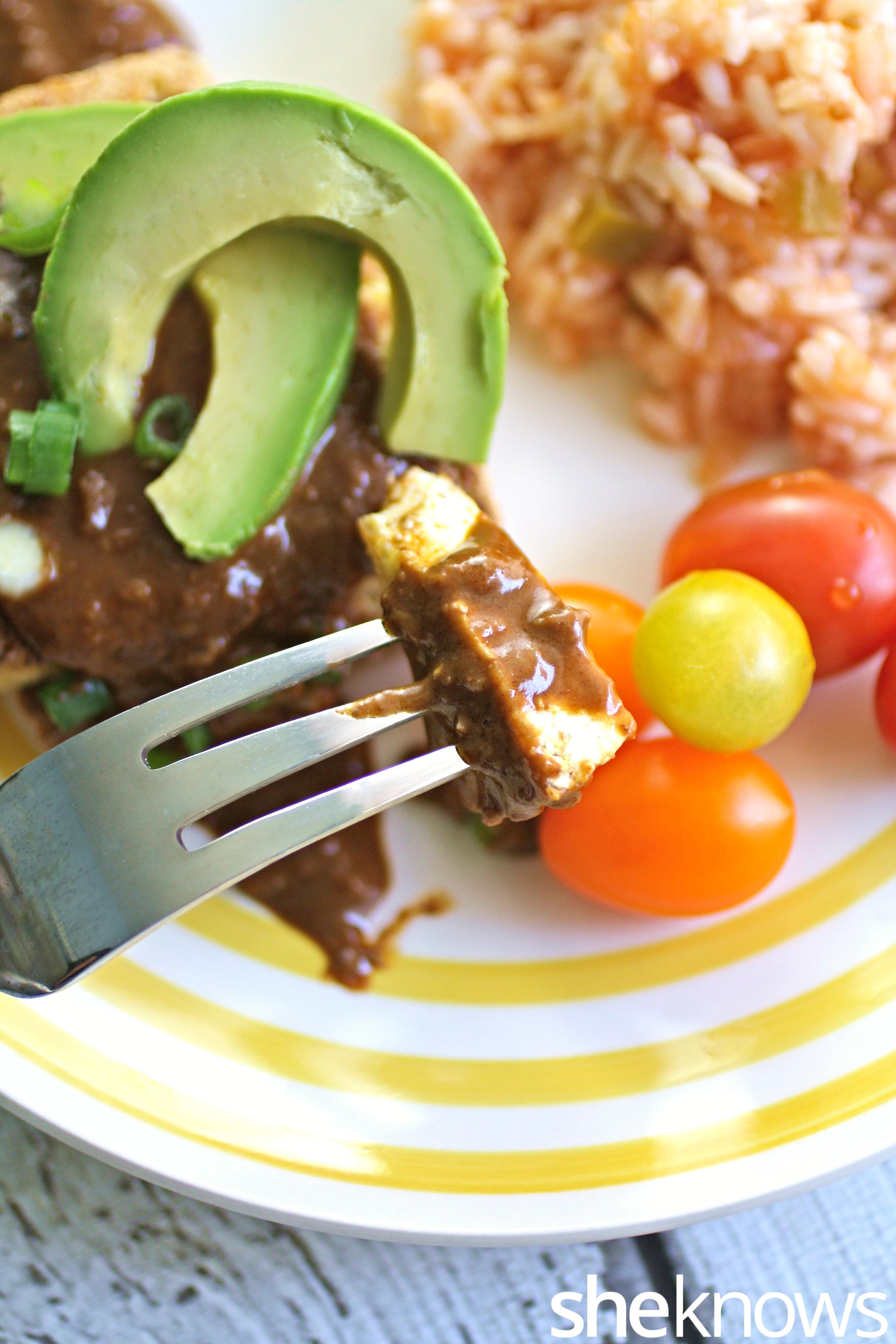 forkful-seared-tofu-mole-sauce