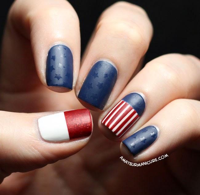 Matte American flag nail design