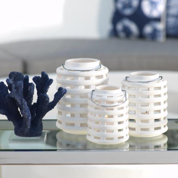 Pacific White Ceramic Lantern