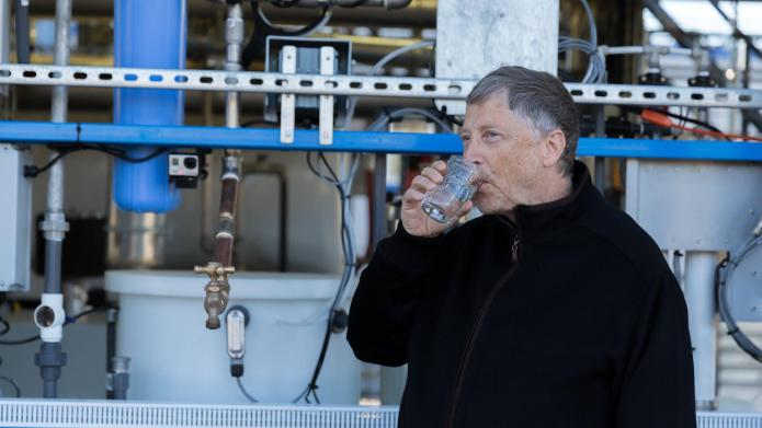 Watch Bill Gates drink water made