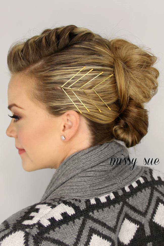 French braid mohawk bun