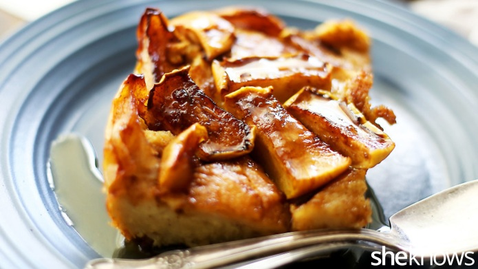 Make-ahead apple French toast casserole for