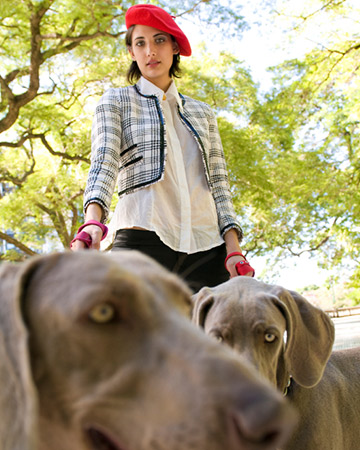 french woman walking dogs
