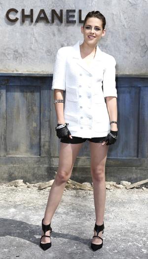 Kristen Stewart at Paris Fashion Week wearing Chanel