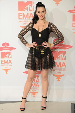 Katy Perry wearing black mesh bodysuit