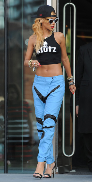 Rihanna en route to perform at the M.E.N arena in Manchester