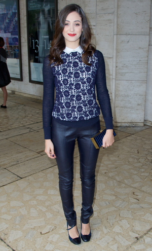 Emmy Rossum wearing blue at NYFW