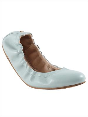 Shop the look: Yosi Samra Mirah Alsina Leather Ballet Flats in Seafoam (yosisamra.com, $119)
