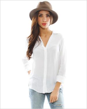 Shop the look: Bella Dahl City Shirt in White (singer22.com, $106)