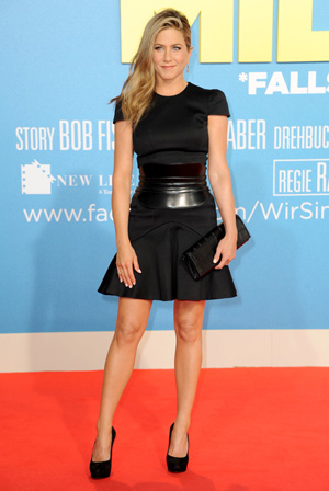 Jennifer Aniston wearing black dress at We're the Millers Berlin premiere