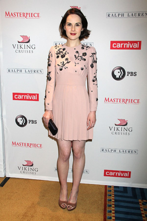 Michelle Dockery wearing pink dress