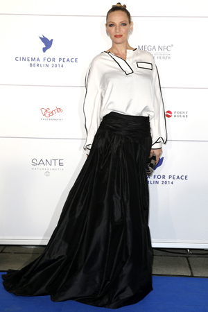 Uma Thurman at the Cinema for Peace event during the Berlin International Film Festival