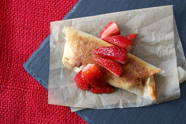 Cheesecake burrito with strawberries