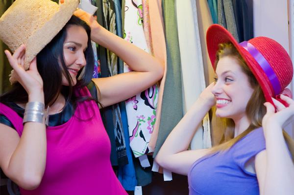 Friends having clothing swap