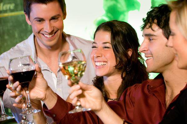 Friends having wine party