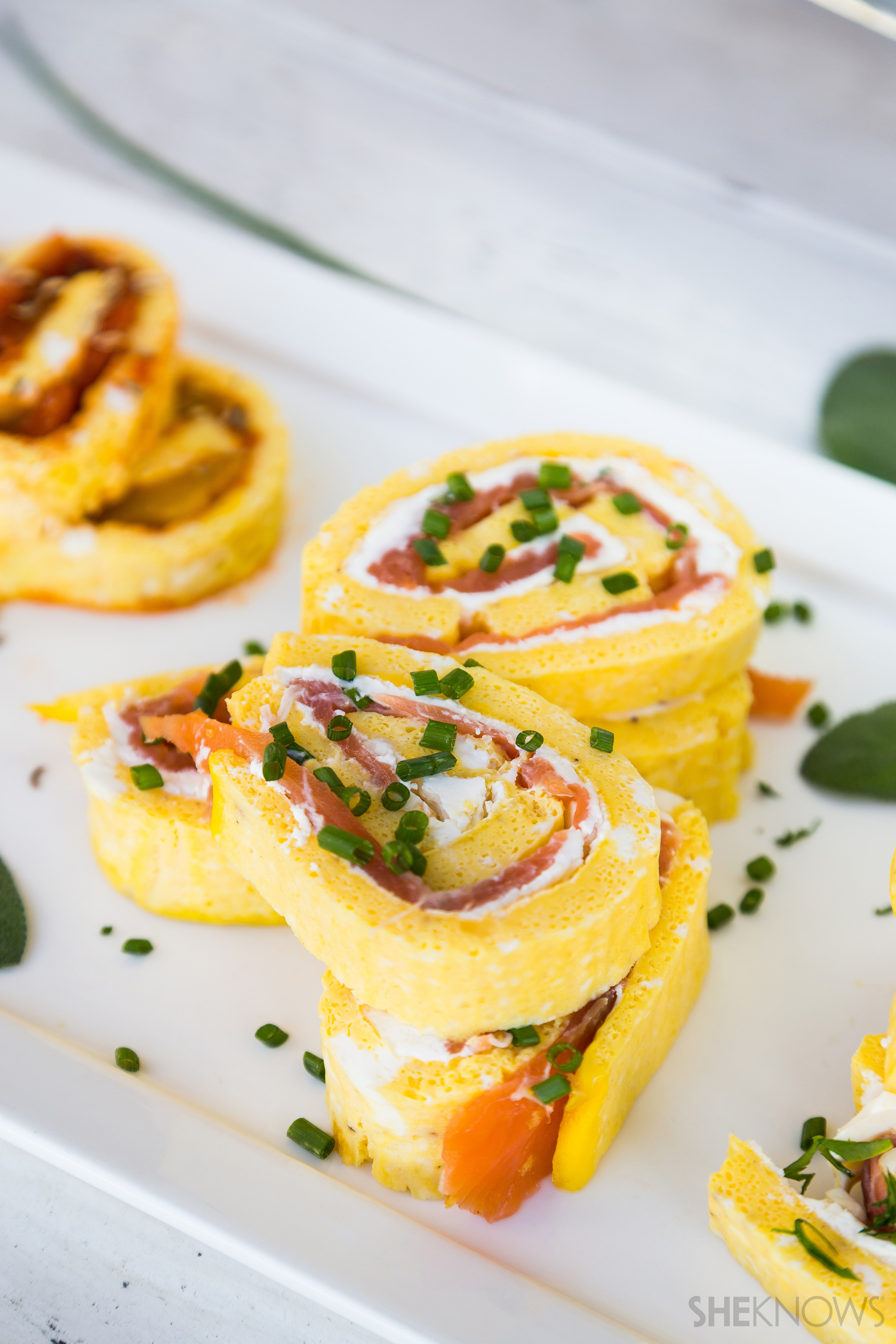 Smoked salmon, cream cheese & chives frittata roll-up recipe