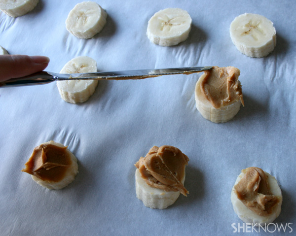 Peanut butter on bananas