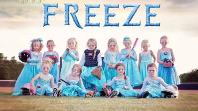 Girls' Frozen softball team photo goes