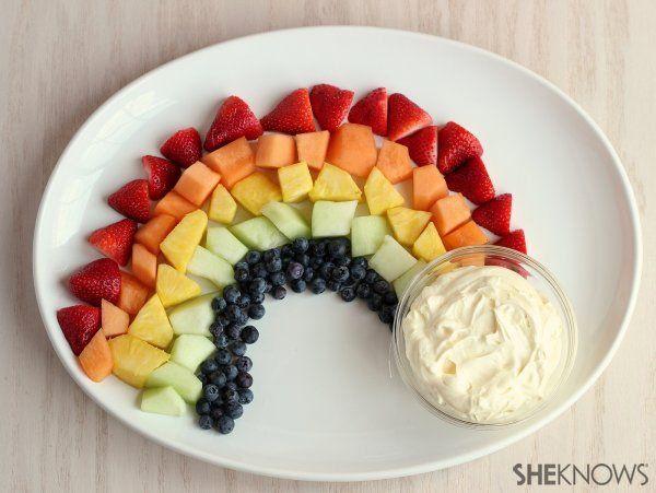Fruit rainbow and lemon dip