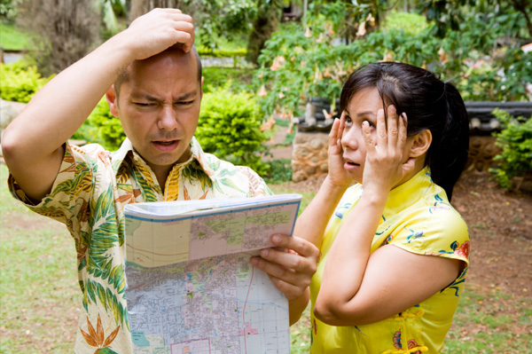 Frustrated couple on vacation