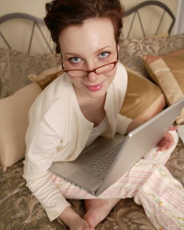 Unhappy woman on computer