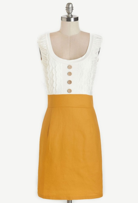 Modcloth Marigold and White dress