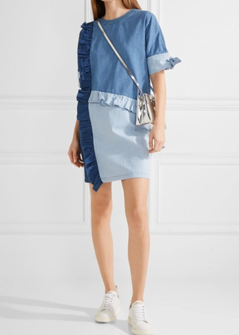 Denim Dresses Are Back: SJYP Ruffled Paneled Denim Dress | Summer Fashion Trends