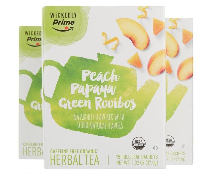 Wickedly Prime Organic Herbal Tea, Peach Papaya Green Rooibos