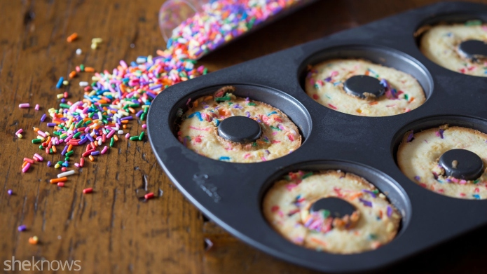 Easy Funfetti baked doughnuts in just