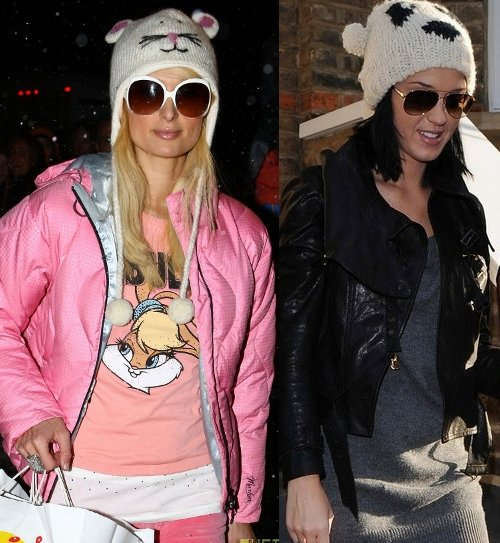 Paris Hilton and Katy Perry white hat