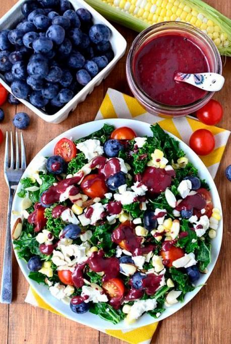 50 Easy Summer Salads:Best Of Summer Kale Salad With Blueberry Balsamic Vinaigrette | Summer Eats