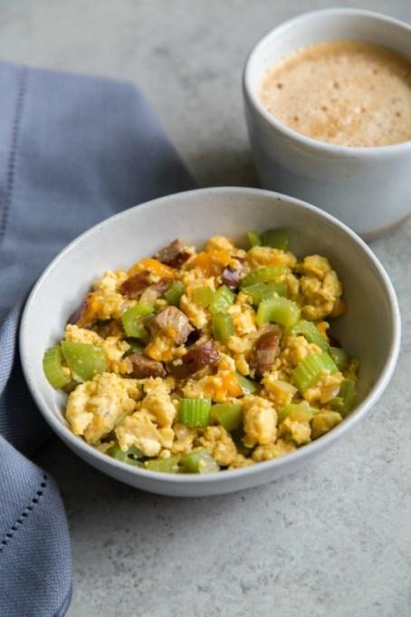 Keto Cajun sausage breakfast scramble