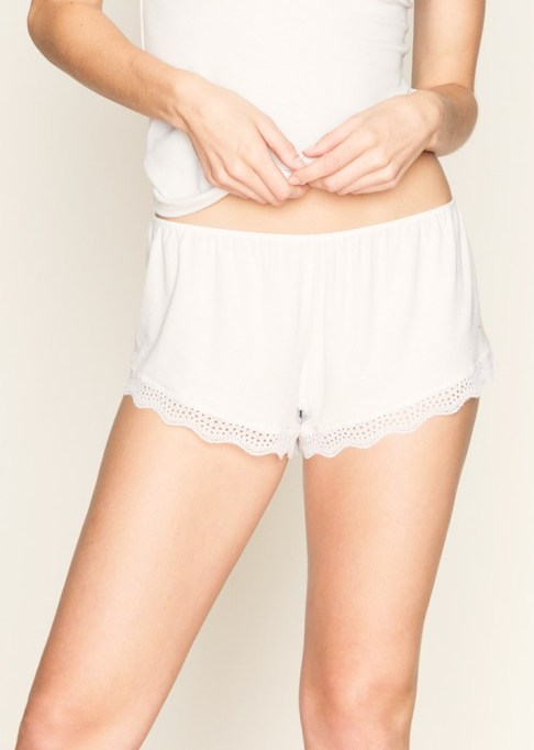 The Best Summer Lingerie and Loungewear | Feather Weight Rib Lace Trimmed Sleep Shorts