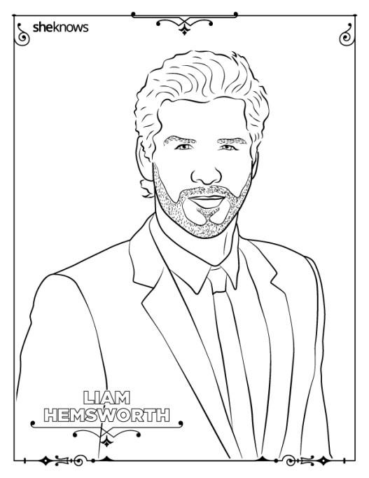 Liam Hemsworth coloring-book page