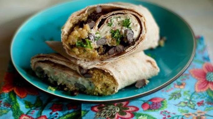 Black bean-quinoa wrap