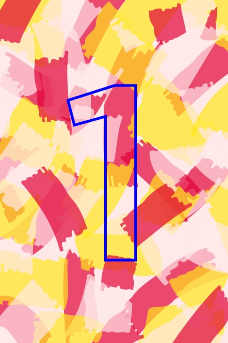 Outline of number 1 on yellow and red background