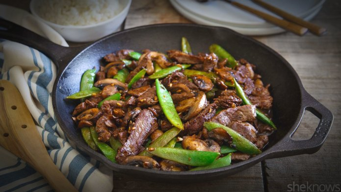 Ginger soy sauce-glazed snow peas and